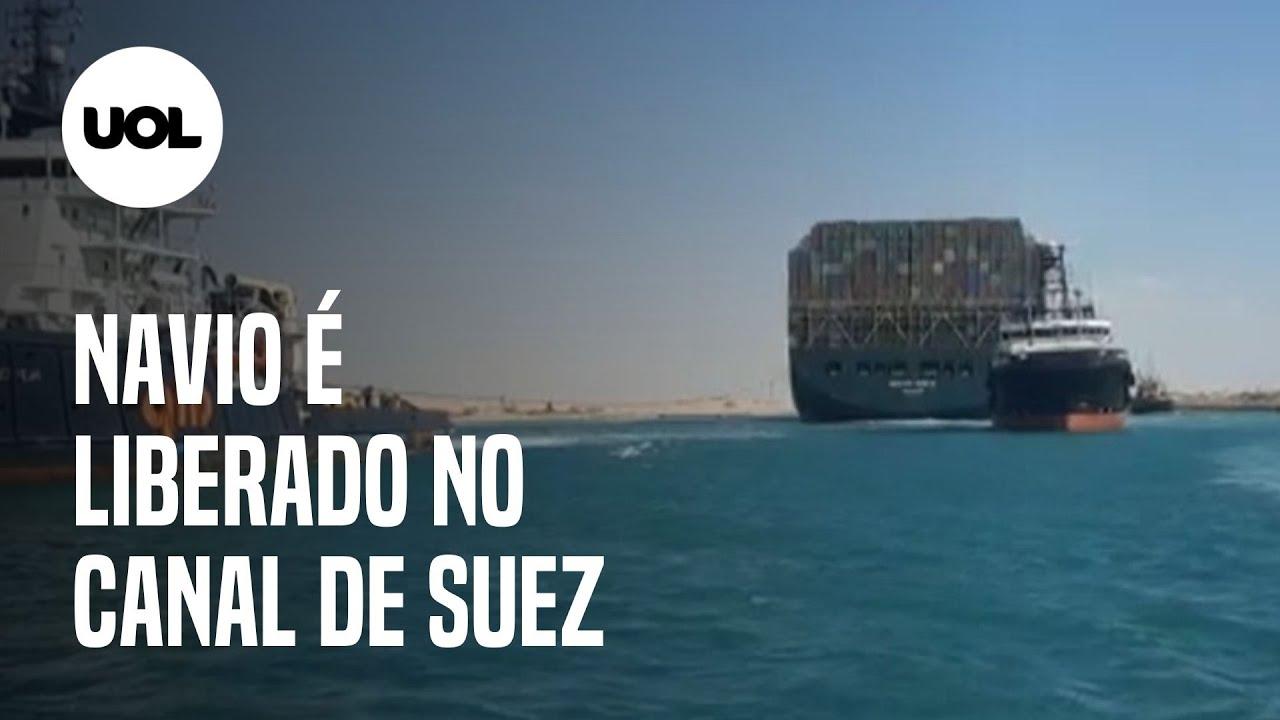 Canal de Suez: navio encalhado é liberado após 6 dias