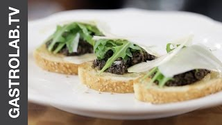Bruschetta With Black Olive Tapenade And Parmesan || Quick And Easy Recipes || Gastro Lab