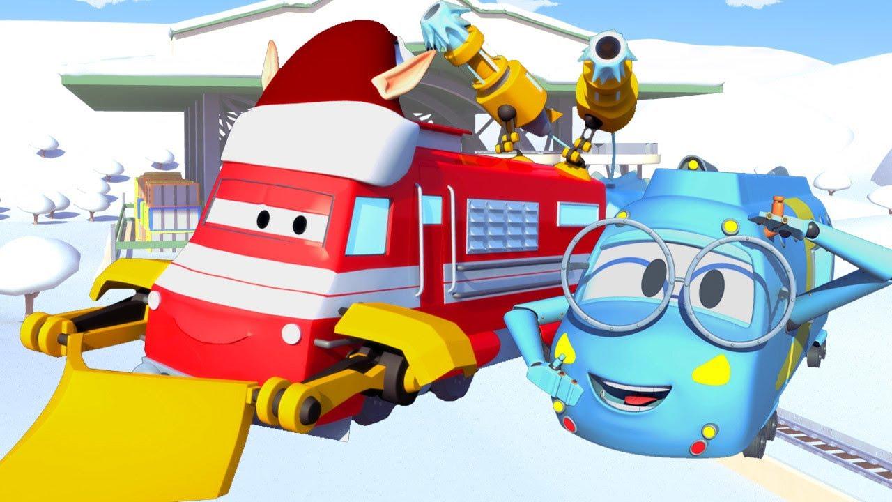 desene cu camioane pentru copii - Troy si masina de zapada  | Trenuletul Troy | Car City World App