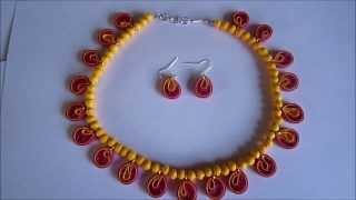 Handmade Jewelry - Paper Quilling Teardrops Jewelry Set (FAH01-225) - Not Tutorial