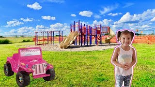 Playing in huge Playground for Kids W Pink Jeep!