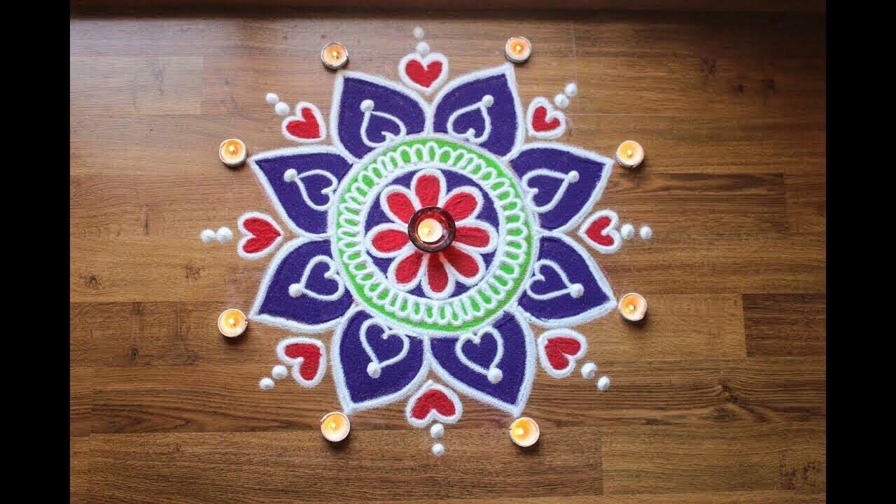 Simple freehand flower rangoli design , Diwali Rangoli designs with colours  by Shital Daga