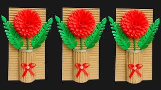 Diy Wall Decoration Ideas | Cardboard Crafts Wall Hanging Decor | Diy Paper Flowers | Home Decor