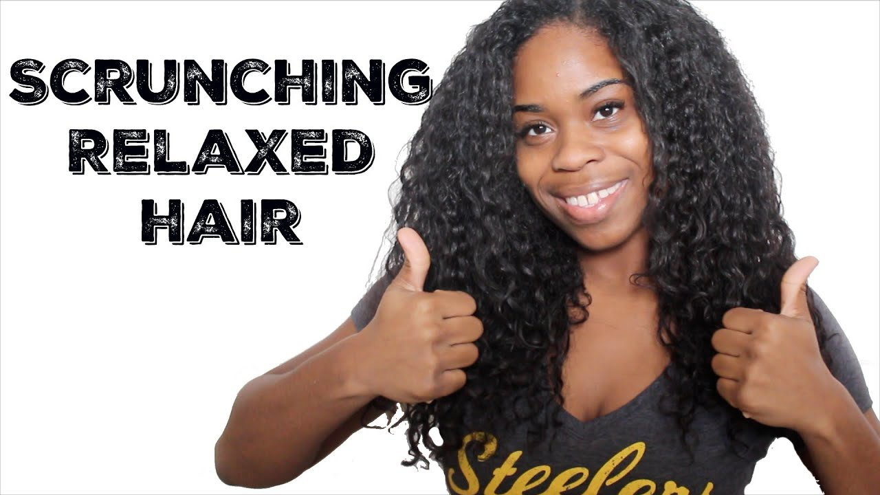 styling relaxed hair after washing scrunching relaxed texlaxed hair tutorial 9291