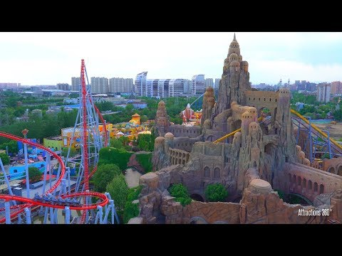 [4K]  Happy Valley Beijing Theme Park from High Above  - Flying Island Observation Ride