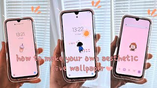 how to make your own aesthetic simple live wallpaper plus how to find cute gifs | android phone screenshot 4