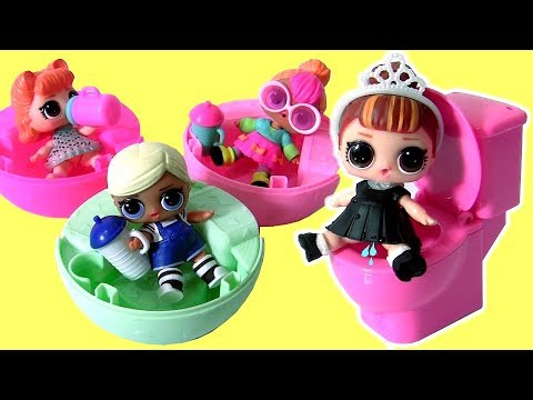 LOL DOLL PEES & SPITS LOL Lil Outrageous Littles Surprise Dolls pee in the Toilet by Funtoys