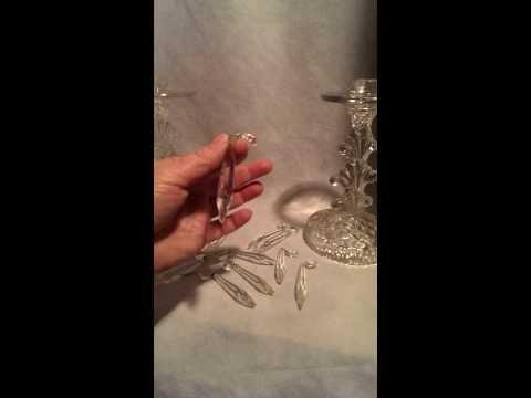 Pair(2)Elegant, Vintage Pressed Glass Candlestick Holders,Bobeche,Crystal Prisms FOR SALE