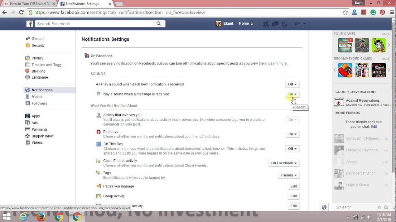How to Turn Off Sound Notifications from Facebook on PC and Mac