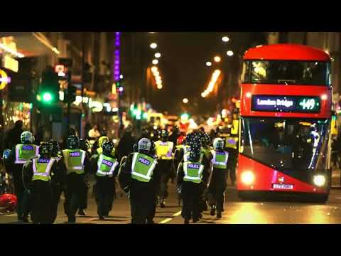 London protesters pelt police with bottles and block road