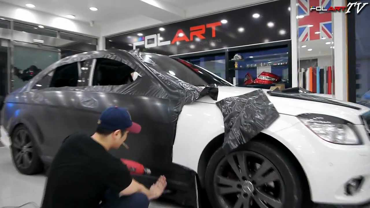 Auto Vinyl Wrap >> (카스킨) CAR WRAP : BENZ C200 -3M BRUSHED BLACK - YouTube