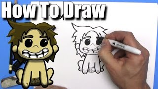 How to draw Cute Cartoon Spot from the Good Dinosaur -EASY Chibi - Step By Step - Kawaii