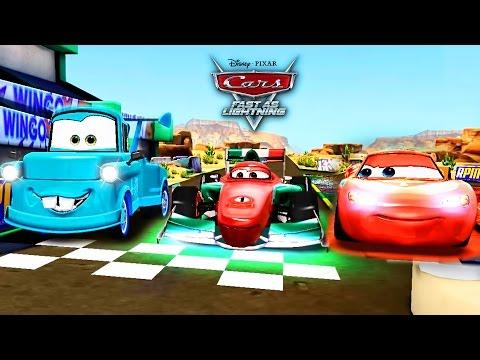 Disney Pixar Cars 2 Racing Starter Game Set Neon Lightning McQueen Vs. Francesco Bernoulli