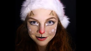 Rudolph reindeer christmas makeup tutorial