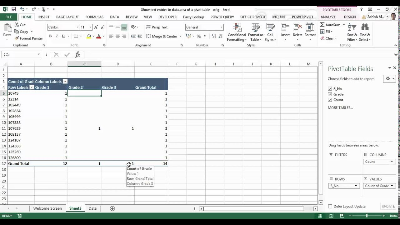 Display text values in the data area of a pivot table