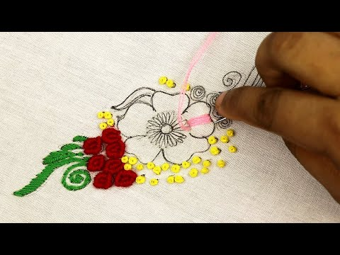 Gorgeous hand embroidery designs of a beautiful hand embroidery drawing - flower embroidery pattern