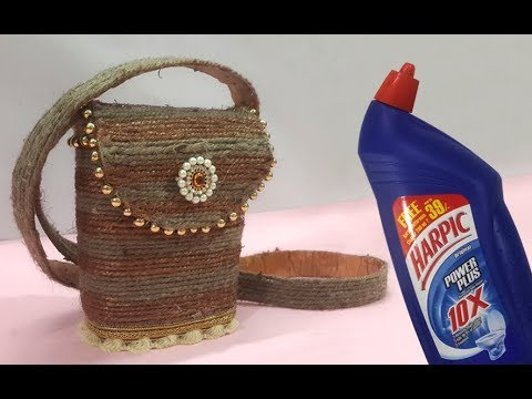 Easy Best Out Of Waste Craft Jute Bag From Old Plastic Bottle Jute Twine Purse Reuse Old Things