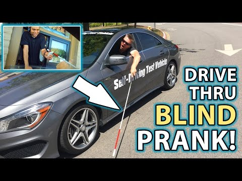 BEST DRIVE THRU PRANK as BLIND MAN Compilation!