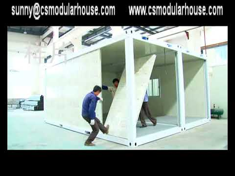 Two combined flat pack Container house installation video