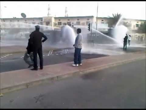 #Bahrain Armored vehicles suppress the protesters with hot water.