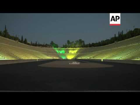 Ancient Greek stadium lit in Brazil colours