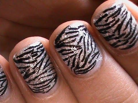 zebra nails  easy short nail art designs  youtube