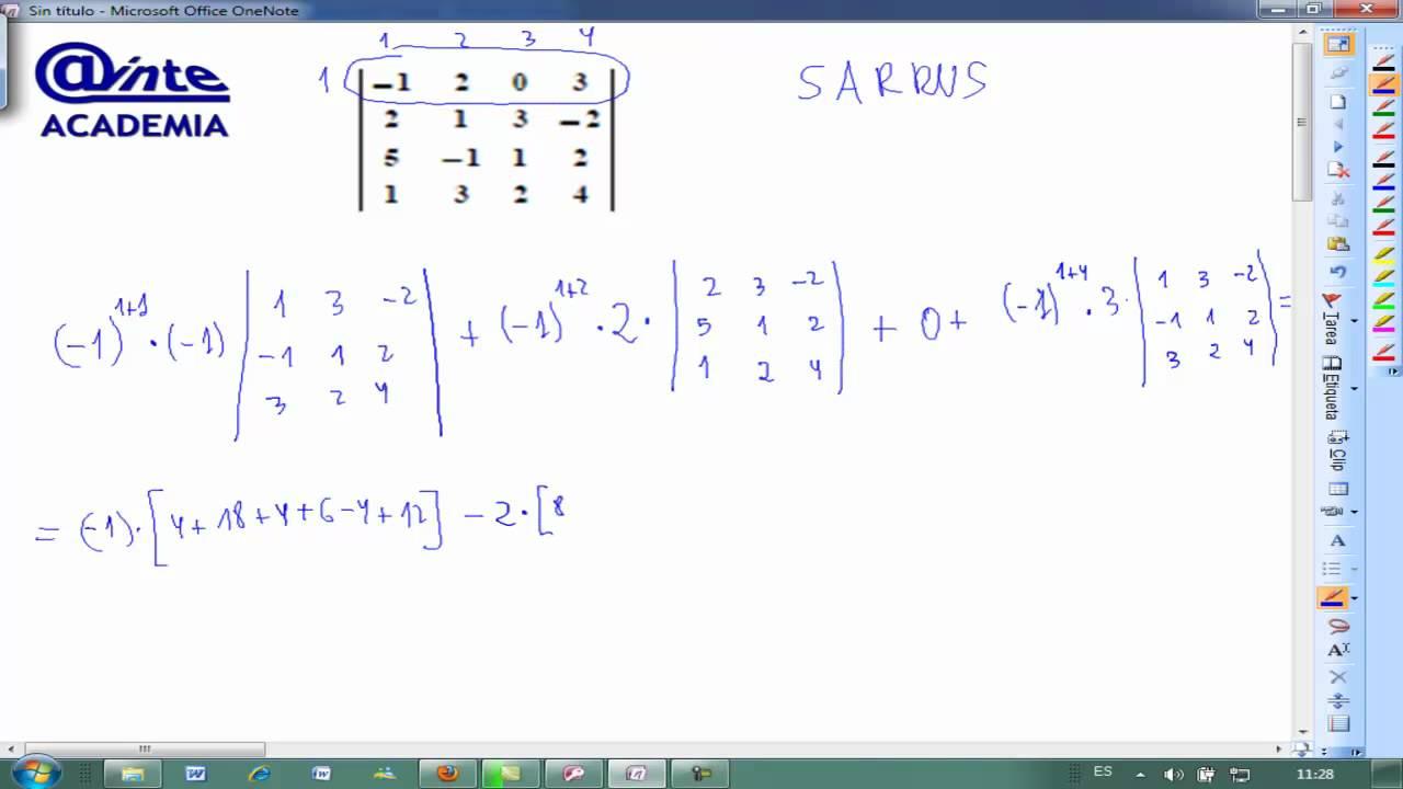 desarrollar determinante 4x4 sarrus matematicas 2 bachillerato ainte youtube. Black Bedroom Furniture Sets. Home Design Ideas