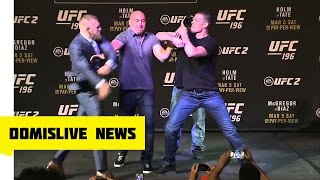 Brawl Breaks Out at Conor McGregor vs. Nate Diaz UFC 196 Faceoff Press Conference