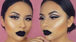 Soft Cut Crease + Bold Black Lips Makeup Tutorial