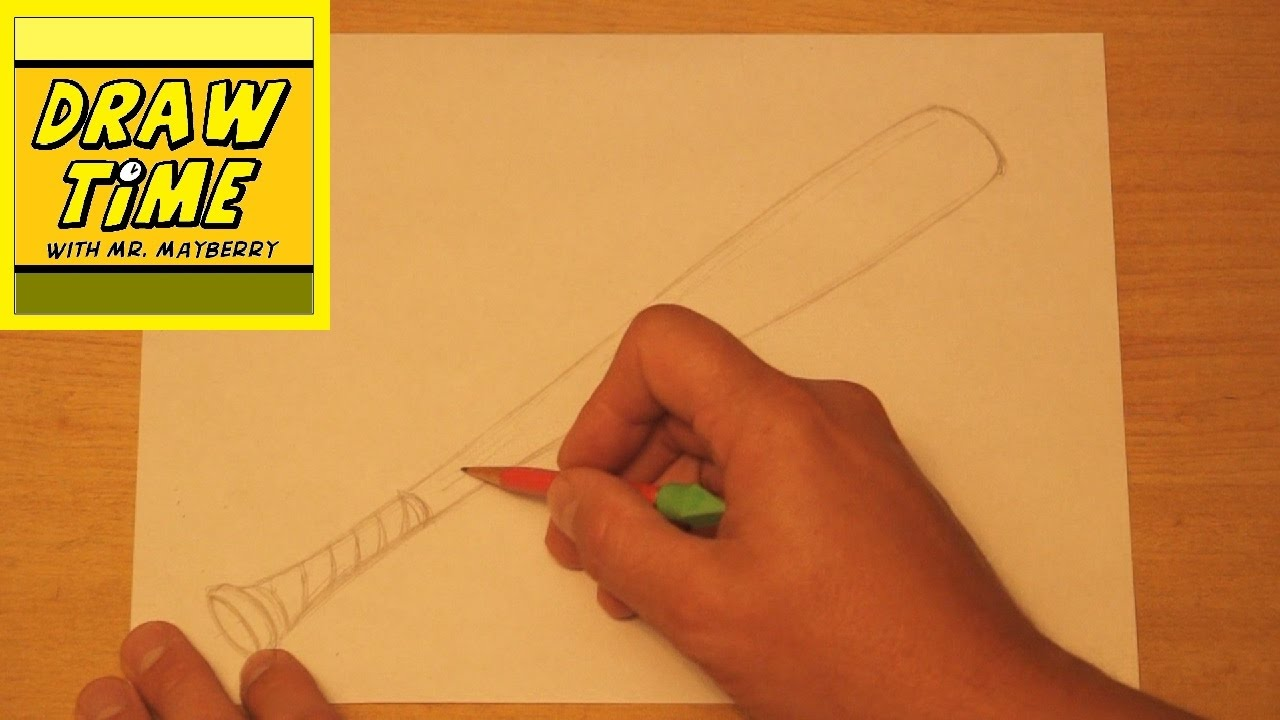 How to draw a baseball bat