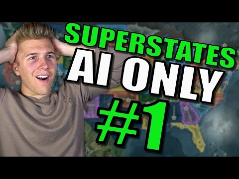 Hearts Of Iron 4 - USA States Gameplay AI ONLY Mod | Part 1 | Broken United States!