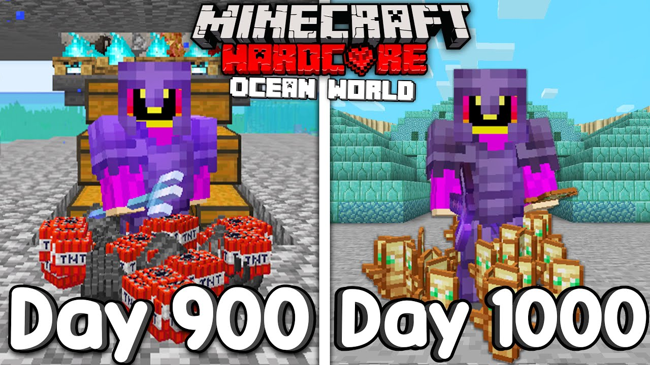 I Survived 1000 Days Of Hardcore Minecraft, In an Ocean Only World...