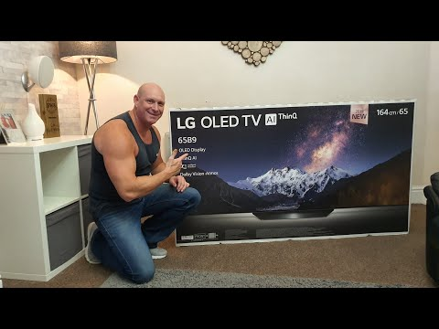 "2019 65"" LG B9 OLED,unboxing,wall mounting & demo"
