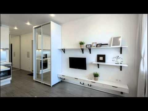 Дизайн маленькой квартиры студии  в белом цвете на  30 кв. м
