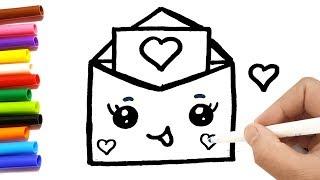 Come disegnare una lettera d'amore kawaii per bambini | Disegni da colorare