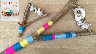 Yarn Wrapped Shell & Drift Wood Rattles (nature Crafts For Kids)