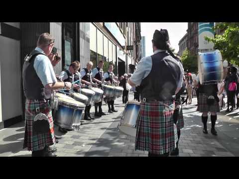 New York Metro Pipe Band Drum Corps on Sauchiehall Street