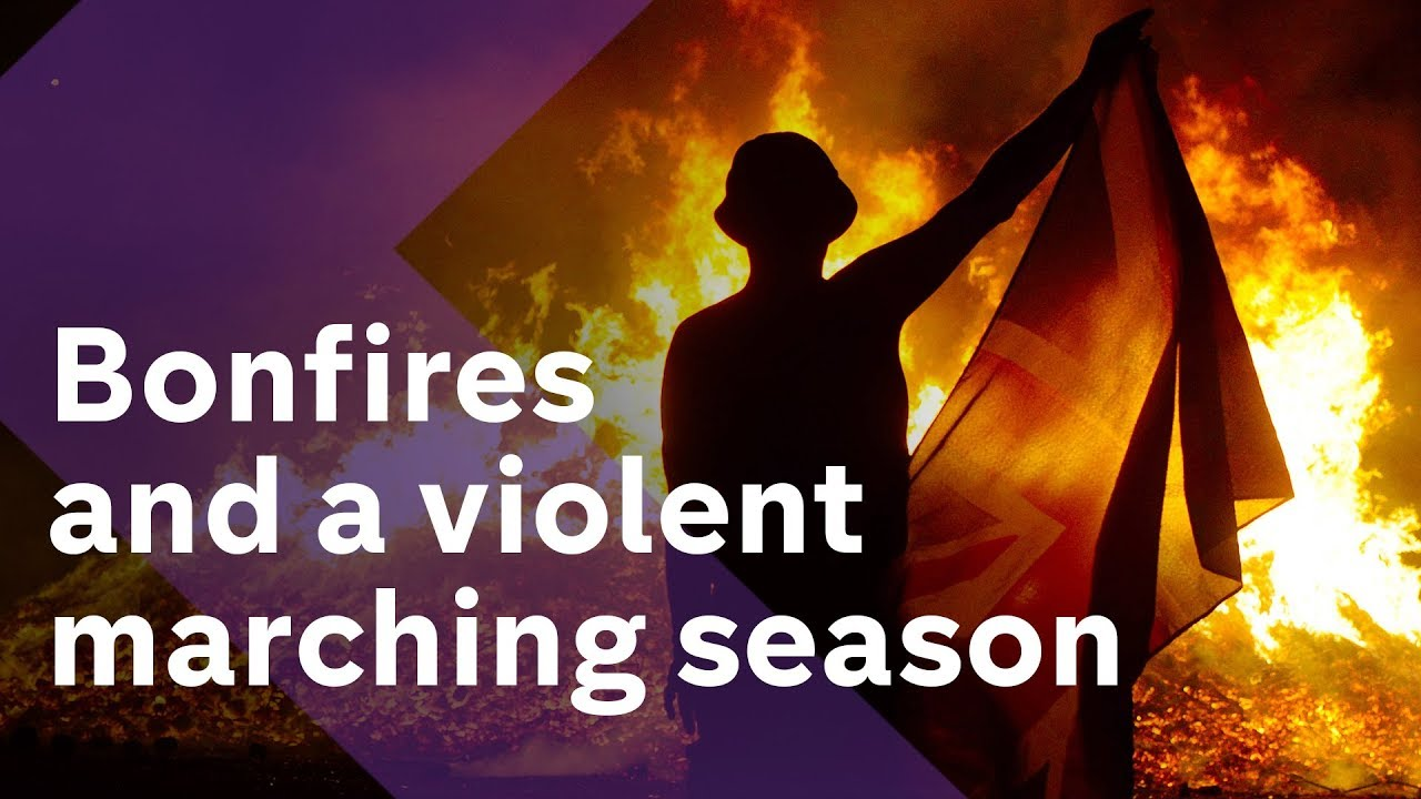 Why is there violence in Northern Ireland over marches and bonfires?