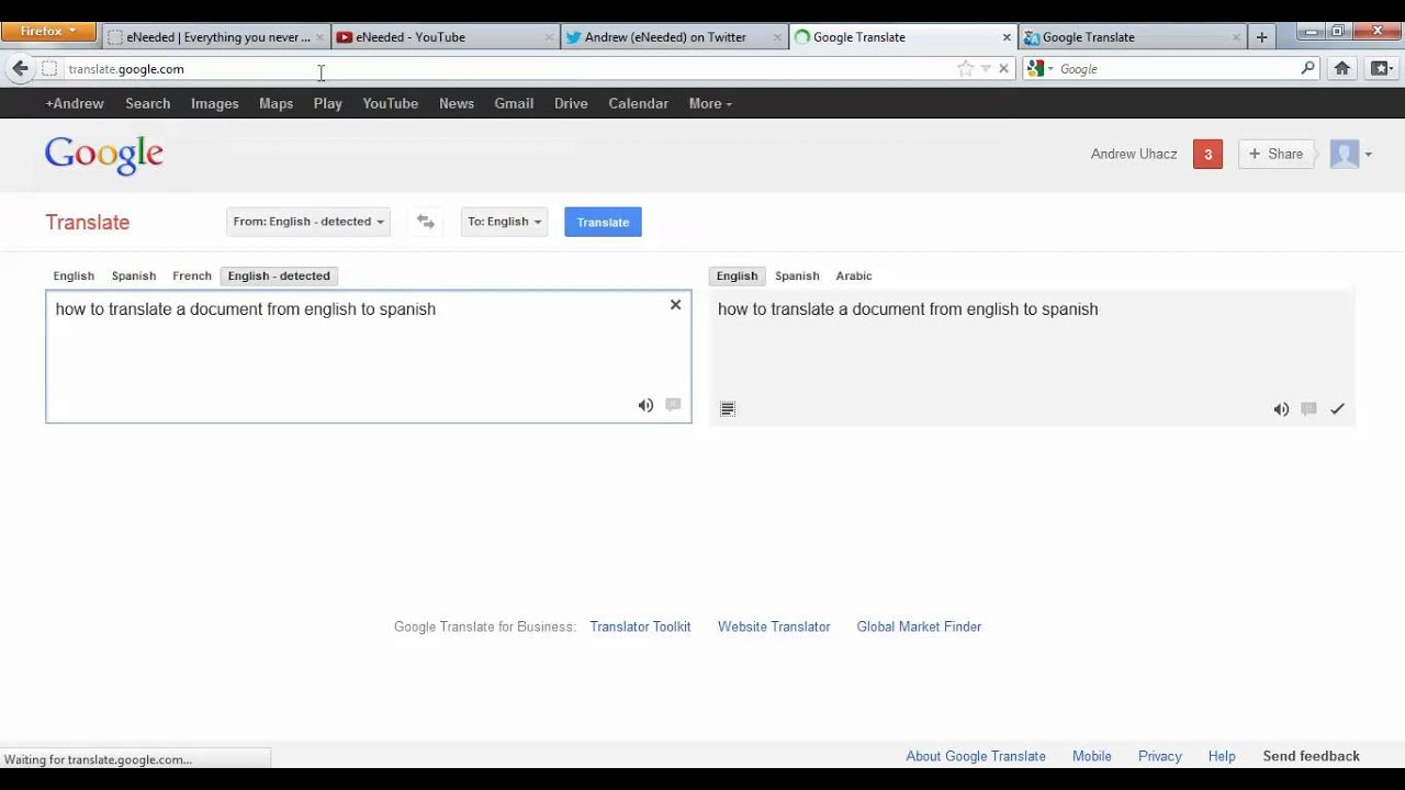 Translate My Document To Spanish How To Translate A Document From English To Spanish Youtube