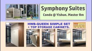 Hidden Wall Bed Simple Set HWB Queen. Symphony Suites +Top Storage Cabinet.HWB HUB.HDB.BTO.EC