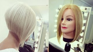 Hairdresser education step by step. Short Bob haircut tutorial. How to cut beauty hairstyle.