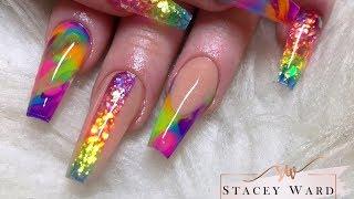 Colour block rainbow acrylic nails