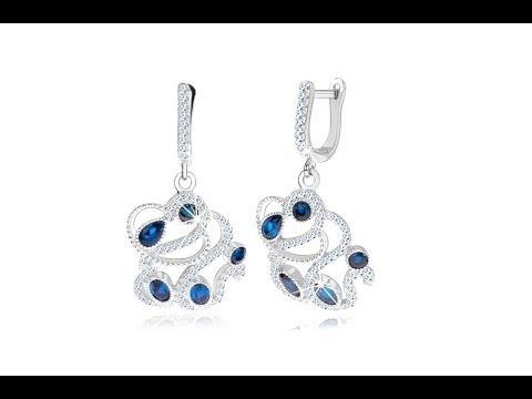 2f3ee32b7 Strieborné náušnice 925, ornament zdobený čírymi a modrými zirkónmi    Šperky Eshop