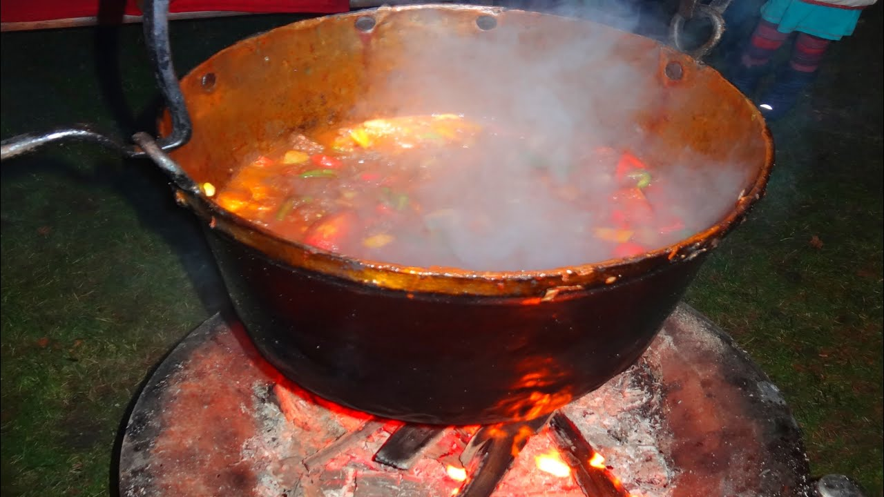 Hungarian Goulash with Recipe - open fire cooking in a big