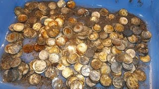 HUGE CACHE OF SILVER COINS FOUND WHILE METAL DETECTING- LIVE OPENING