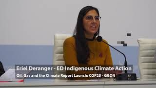 ICA Director - Eriel Deranger speaks at GGON Press Event at COP 25 Climate Summit in Madrid, Spain