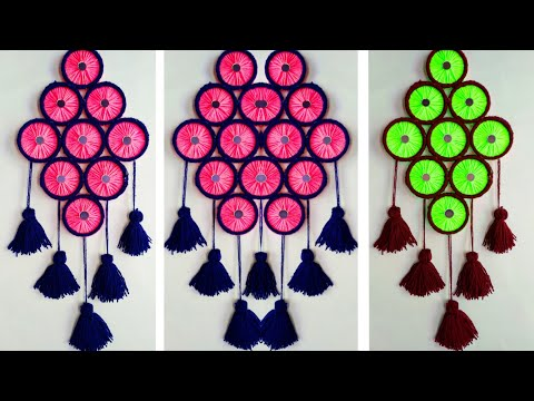DIY BENGELS & WOOLEN WALL HANGING TORAN/NEW DESIGN WOOLEN WALL HANGING CRAFT IDEA/BEST OUT OF BANGEL