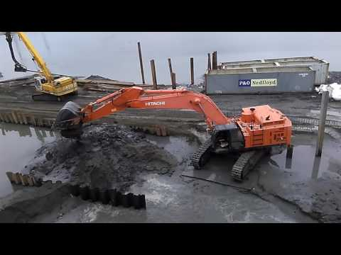 HITACHI ZAXIS 670LCH Excavator + KATO HD1880 Excavator In TAIWAN169.( Bagger 油壓ショベル)