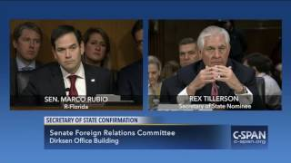 Repeat youtube video Sen. Marco Rubio questions Rex Tillerson (C-SPAN)