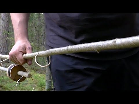Bushcraft Fishing Rod And Spinning Reel Made In The Woods - For Survival Situations